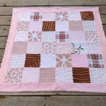 Pink baby quilt blanket vintage chenille patchwork shabby chic cottage quilt pink brown tan cocoa baby quilt toile