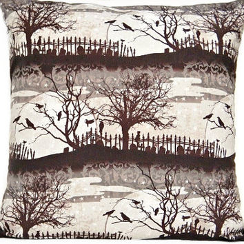 Halloween Pillow Cover Brown Crows Cats Cemetery Branches Moon Black Gray Beige Decorative 18x18
