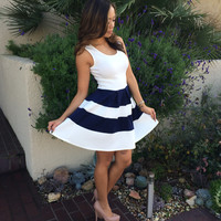 Skater Striped Dress - Ivory & Navy