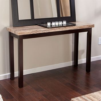 Solid Wood Frame Console Sofa Table in Espresso with Faux Marble Top