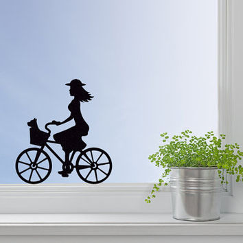 Girl On A Bike Fabric Decal - Bicycle Sticker - Teen Girls Room Decor - Laptop Stickers