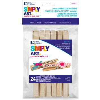 "Simply Art Wood Large Spring Clothespins-Natural 3.375"""" 24/Pkg"