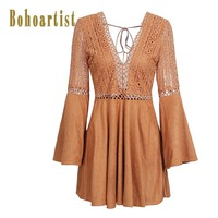 Bohoartist Bohemian Women Day Dresses Soild V-Neck Short Lace-Up Dresses Casual Boho Summer Clothing Women Daily Mini Dress 2018