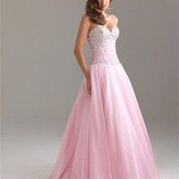 A-line strapless sweetheart beaded tulle pink Prom Dresses 2012 PDM344