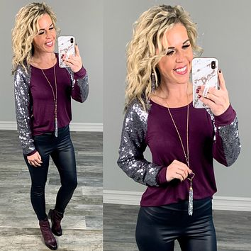 Out Shine Sequin Long Sleeved Top - Plum