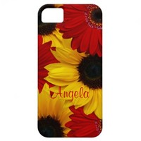 Red Gerbera Daisy Yellow Sunflower iPhone 5 Case