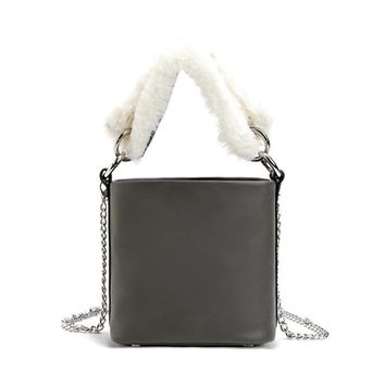 Autumn & Winter Bucket Bags Gray Leather Faux Fur Handbags Fashion Small Tote Women Chain Crossbody Clutch
