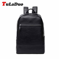 TuLaDuo Bag Backpack Laptop Mochila Masculina Man School Bags Leather Backpack Motorcycle Black Backpack Morrales