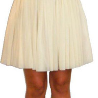 Cream Ballerina Skirt with Black Waist Band and Bow