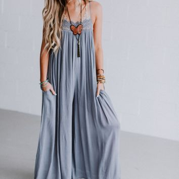 Claudia Wide Leg Jumpsuit - Blue Gray