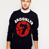 River Island   River Island Sweater With Brooklyn Print at ASOS