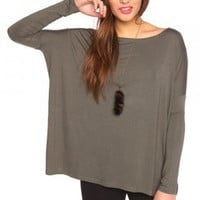 Bamboo Scoop Top - Olive - NASTY GAL