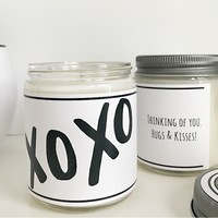 Handmade Hugs & Kisses Scented Soy Candle XOXO
