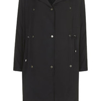 Waterfall Hooded Trench Jacket - Black