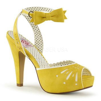 Pin Up Couture Bettie Yellow Ankle Strap Sandal