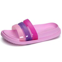 Jelly Colorful Rainbow Portable Slip On Flat Slippers