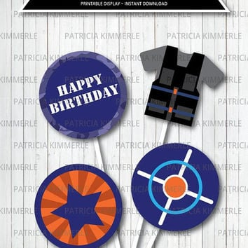 Centerpiece Printable, Target, Aim and Fire, Tactical, Military, Strike, Laser Tag, Toy Gun, War, Birthday, Decorations, INSTANT DOWNLOAD
