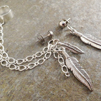 Feathers And Chain Asymetrical Earrings Cuff, Bohemian Silver Feather and Chain Long Dangle Earrings
