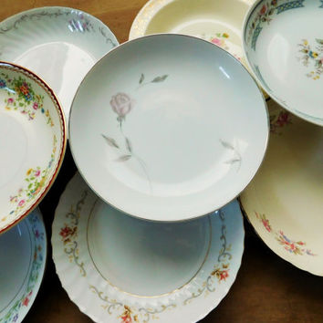 Mismatched Dishes China Salad Soup Bowls