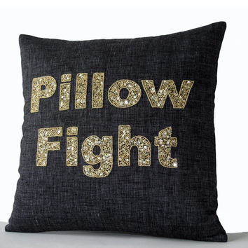 Valentine SALE Decorative pillow covers with Pillow Fight embroidered in gold sequins beads on Premium Linen - Belgian Flax Cushion - Sofa p