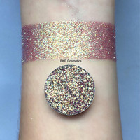 Iridescent golden sky pressed glitter eyeshadow, 26mm magnetic pan or jar, cosmetic grade glitter