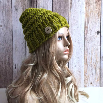 Chunky Lemongrass knitted women hat beanie, gift or for you