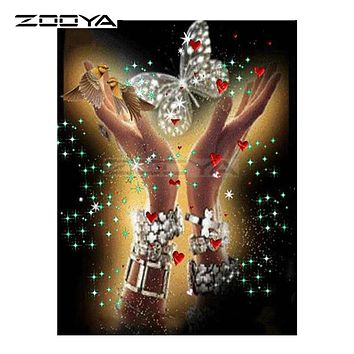 ZOOYA 5D DIY Diamond Embroidery Animal Butterfly Bird Hand Diamond Painting Cross Stitch Square Drill Mosaic Decoration BK513