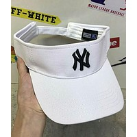 NY Summer Embroidered Sunscreen Sun Cap Empty Top Baseball Cap F-Great Me Store white