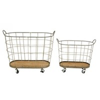 Creative Co-Op Rolling Laundry Basket - Grey (Set of 2)