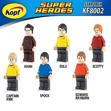 Single Sale Star Trek Captain Kirk Scotty Khan Eoward Tayburn Zulu Super Heroes Model Building Blocks Toys for children KF8002