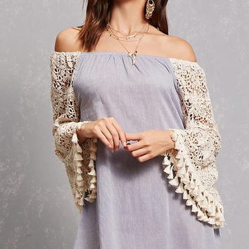 Off-the-Shoulder Tassel Dress
