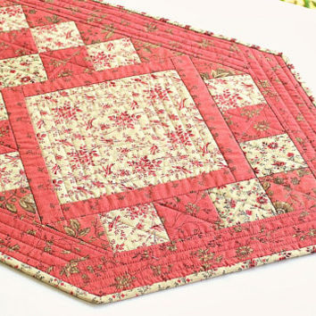Quilted Table Runner, Pink Coral Tan, Summer Table Quilt, Flowers and Birds, Roses, Floral Table Topper, Quiltsy Handmade