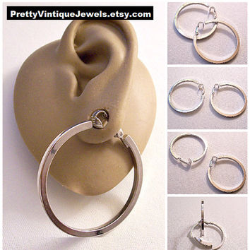 Avon Great Hoops Square Tube Clip On Earrings Silver Tone Vintage 1 1/2 Inch Extra Large Round Open Polished Dangle Rings