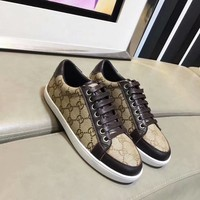 Gucci Women Genuine Leather Classic Double G Coffee Fashion Canvas Sports Sneakers Shoes