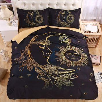 Day-First™ Lightweight BOHO Sun Moon and Stars 3D Bedding Set Duvet cover set Twin queen king Beautiful pattern Real effect