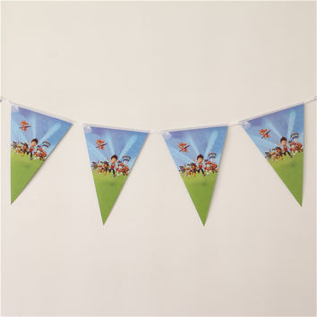 happy birthday party Bunting cartoon dogs flags theme kids favors decorations paper pennants baby shower banners event supplies