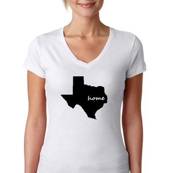 The Texas Home T-Shirt, Texas shirt ,home  T-shirts,women Tshirts,V-neck T shirt,Screen Printing T shirts,narrow model,Size S, M, L