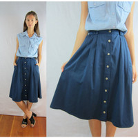 Vintage Skirt NAVY BLUE High Waist FULL Circle Midi Button Up Small