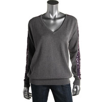 Johnstons Cashmer Womens Knit V-Neck Pullover Sweater