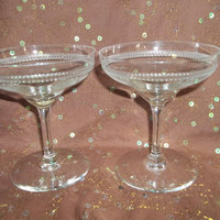Wedding  Champagne Glasses, Vintage, Scalloped Edge