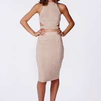 Missguided - Berryana Faux Suede Midi Skirt Taupe