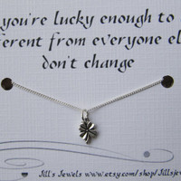 Best Friend Lucky Tiny Four Leaf Clover Charm Necklace and Friendship Quote Inspirational Card- Bridesmaids Gift  - Quote Gift