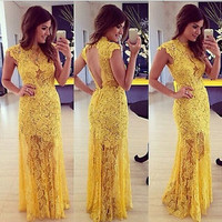 Sexy Yellow Lace Long Evening Formal Party Cocktail Dress Bridesmaid Prom Gown