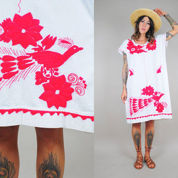 vtg 70's EMBROIDERED tent Dress PEACOCK feather floral Mexican Bird Oaxacan Ethnic