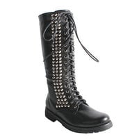 Neway by Beston Women's 'Camila-01' Black Studded Combat Boots