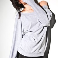 Oversized Dolman Sweater - Off Shoulder Sweatshirt Heather Grey