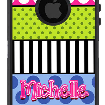 OTTERBOX Defender iPhone 5 5S 5C 4/4S iPod Touch 5GCase Funky Dots Stripes Multi-Color The Lexi Collection Initials Personalized Monogram