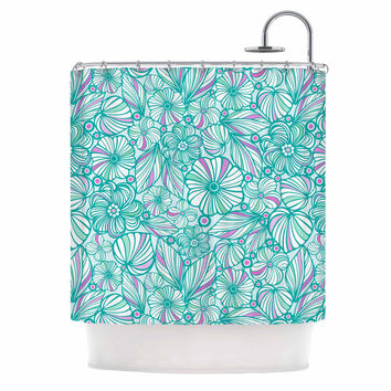 "Julia Grifol ""My Turquoise Flowers"" Teal Pink Shower Curtain"