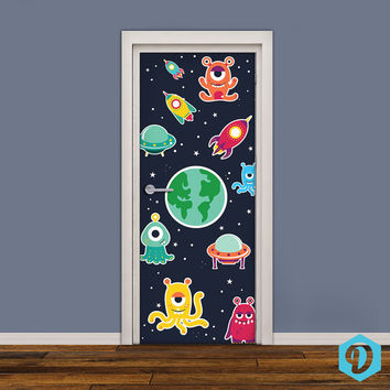 Kids Door Sticker - Vinyl Wallpaper - Adhesive Decal Wrap - Space Aliens - UFO Cartoon