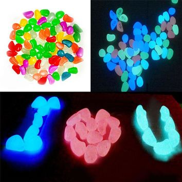 50 Pcs Glow In The Dark Stones Pebbles Rock For FISH TANK AQUARIUM Garden Aug18